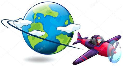 aereo clipart avi 243 n volando alrededor mundo vector de stock