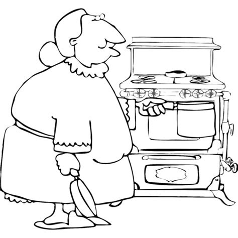 cucina da colorare disegno di nonna in cucina da colorare per bambini