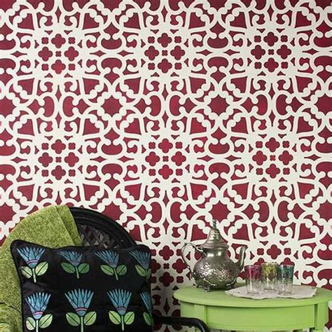 pattern paint roller south africa modern moroccan lace wall stencils stenciling for diy
