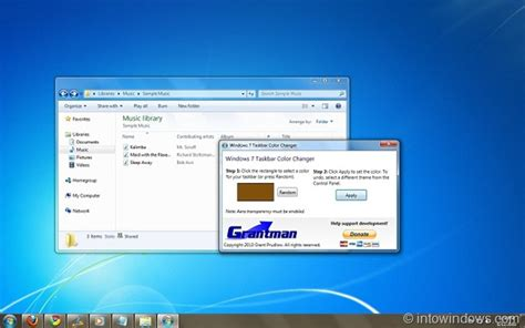 change taskbar color with windows 7 taskbar color changer