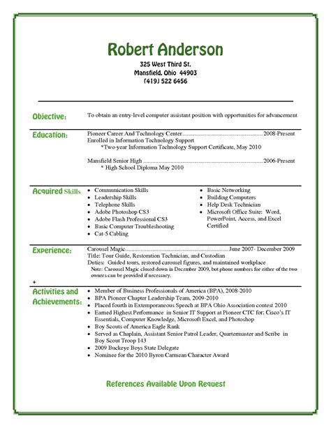 Resume Objective College Student best photos of entry level resume exles high school