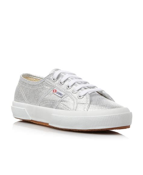 superga sneakers silver superga lamew glitter metallic lace up shoes in silver lyst