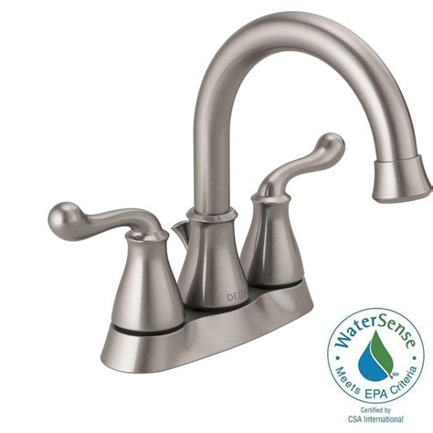 brushed nickel drain assembly delta southlake 4 in centerset 2 handle bathroom faucet