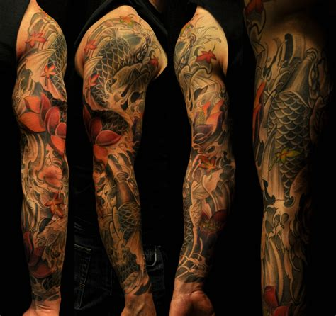 koi sleeve tattoo designs sleeve koi fish and lotus chronic ink