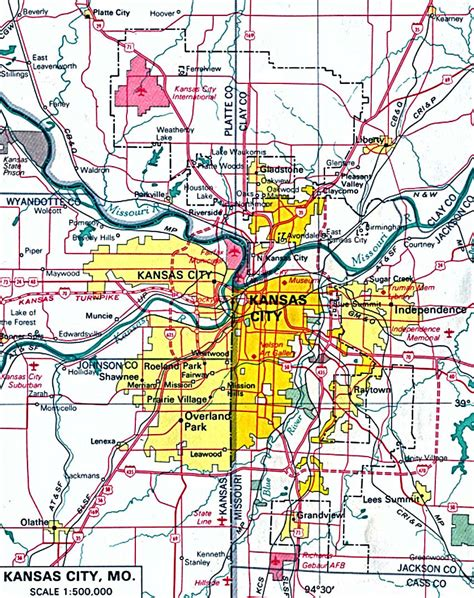 kansas city map of kansas city kansas city metro area map