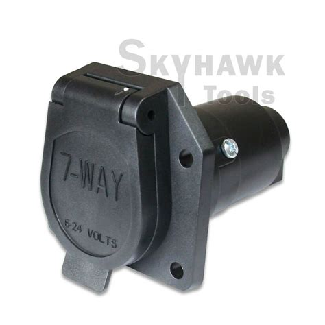 7 way round trailer connector female rv light plug