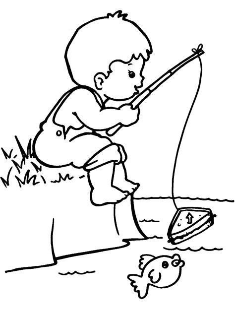 coloring pages a boy fisherman boy coloring page google search incentive