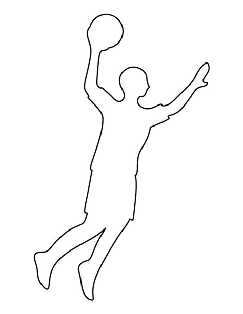 Sports Player Outline by Basketball Player Pattern Use The Printable Outline For Crafts Creating Stencils Scrapbooking