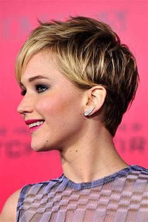 is jennifer lawrence hair cut above ears or just tucked behind celebrity pixie haircuts