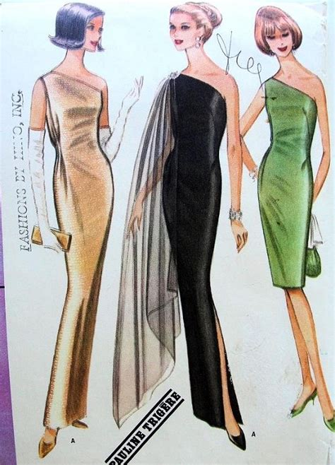 sewing pattern one shoulder dress 1960s pauline trigere one shoulder evening gown cocktail
