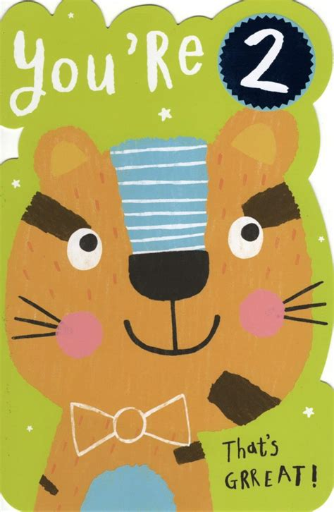 Happy 2nd Birthday Card Boys Happy 2nd Birthday Greeting Card Cards Love Kates