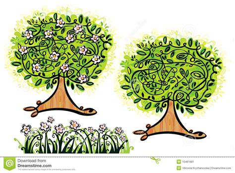adobe illustrator grass pattern vector trees and grass stock image image 10461681
