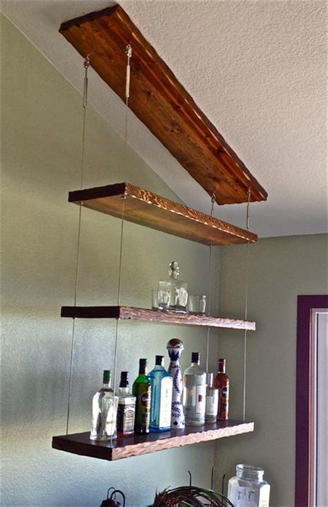 suspended shelving transitional display and wall