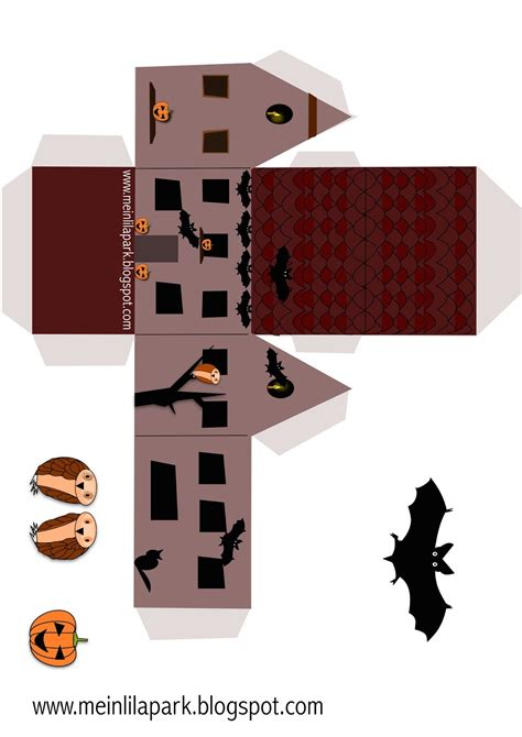 printable haunted house paper free printable halloween box druckvorlage hause