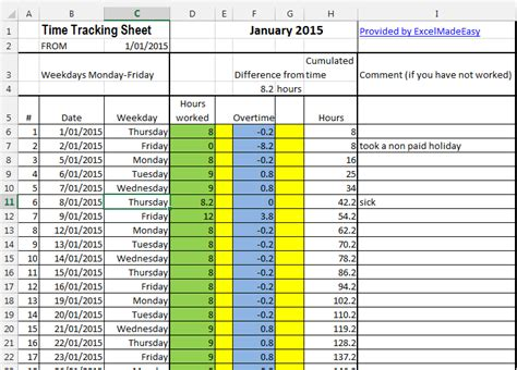 Excel Template Time Tracking Sheets Template Free By Excel Made Easy Excel Tracking Template