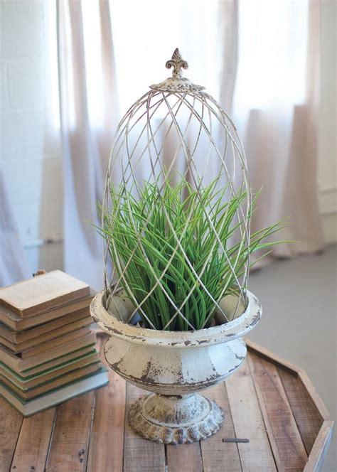 fleur de lis topiary planter metal urn wire cloche cage