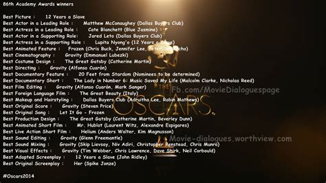 oscar film list 2014 oscars 2014 complete list of academy award winners