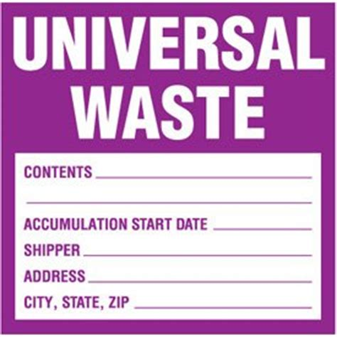 vinyl universal waste labels 6 quot h x 6 quot w purple white