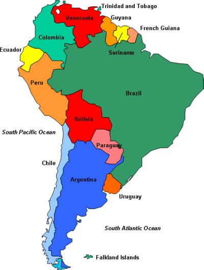south america map countries and capitals quiz speaking countries maps