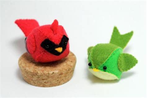 pattern felt bird felt cardinal and green bird plush by typing with tea