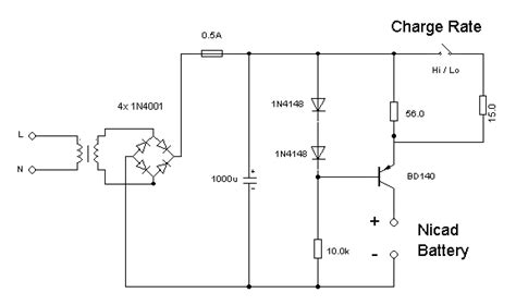 nicd battery charger circuit diagram gt circuits gt nickel cadmium nicd battery charger l40080
