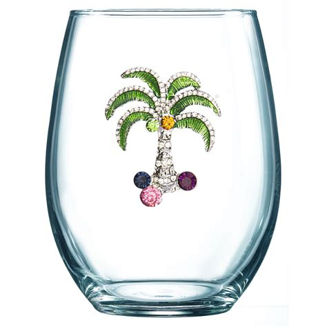 colored stemless wine glasses multi colored palm jeweled stemless wine glass the