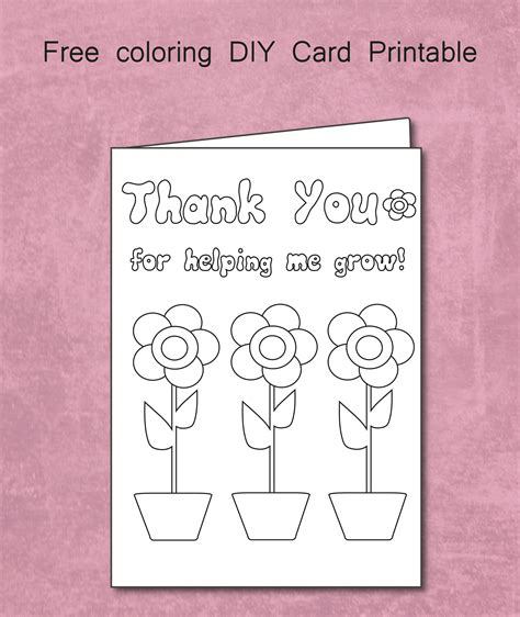 printable thank you cards to colour in free thank you for helping me grow coloring card