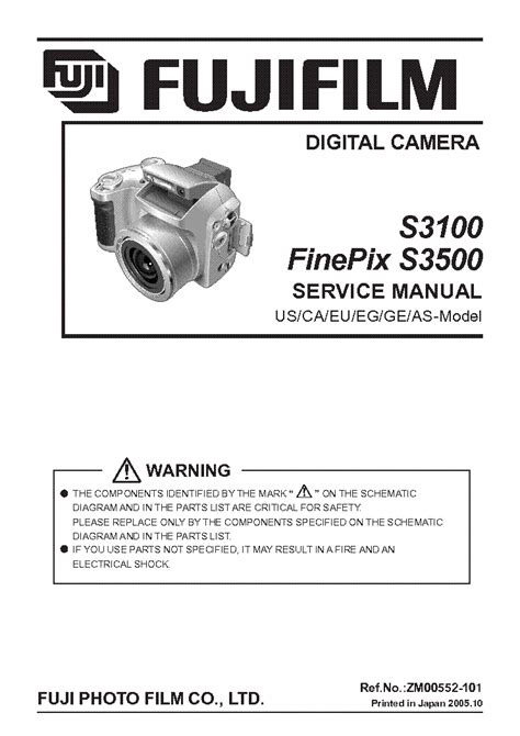 Fujifilm Finepix S3100 S3500 Service Amp Repair Manual