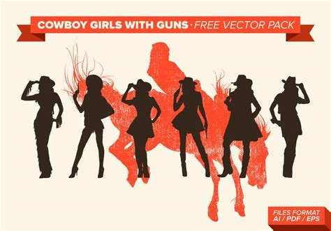 cowgirl silhouette vector free download two beautiful cowboy girls with guns silhouette free vector pack