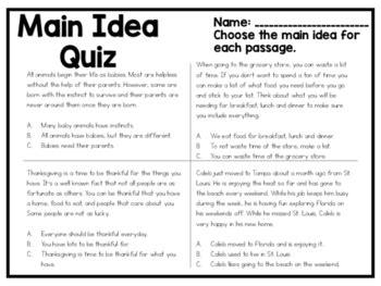 finding the main idea multiple choice worksheets main main idea quiz by kmwhyte s kreations teachers pay teachers