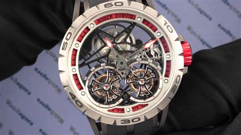 Roger Dubuis Excalibur Dual Tourbillon Black flying tourbillon roger dubuis excalibur spider skeleton swiss sports
