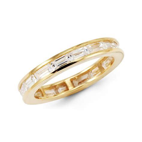 14k yellow gold baguette cz wedding eternity ring band