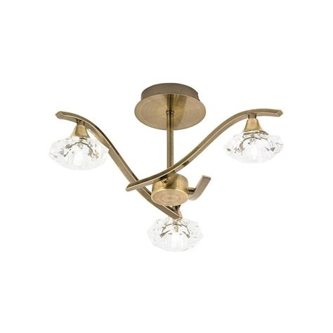 3 light antique brass glass shades semi flush