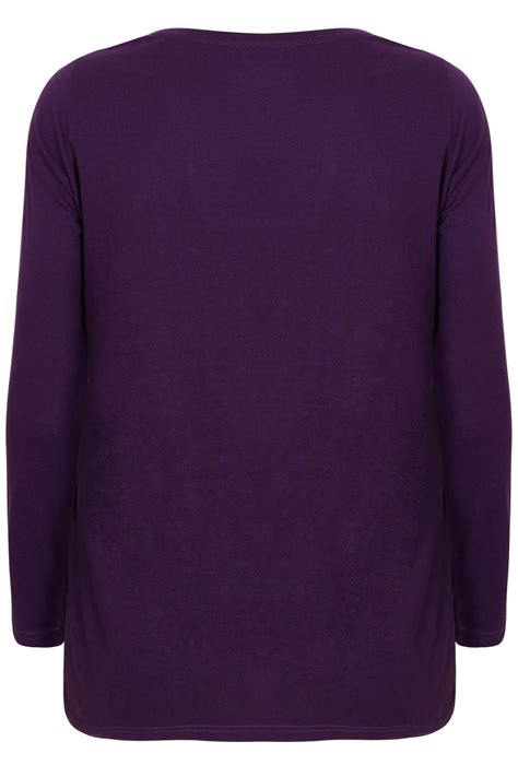 Sleeve Plain T Shirt purple sleeve v neck plain t shirt plus size 16 to 36