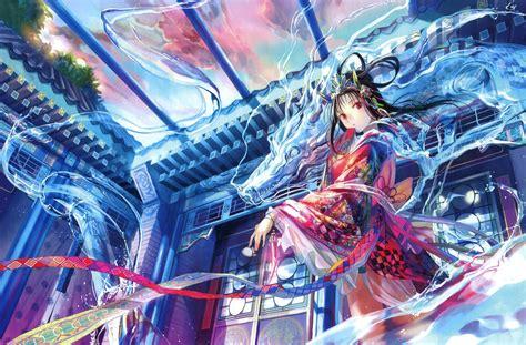 anime dragon girl wallpaper fuji choko original characters red eyes black hair