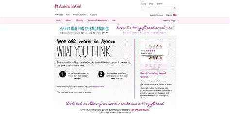 Unlimited Entry Sweepstakes - americangirl com customerreviews american girl customer review sweepstakes
