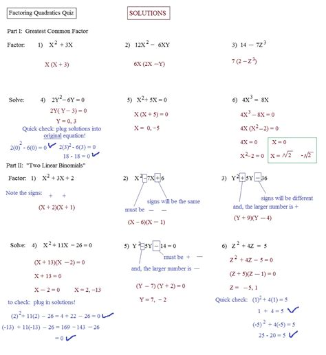 Factoring Worksheet Answers by Factoring Quadratics Worksheet Math Aids Answers