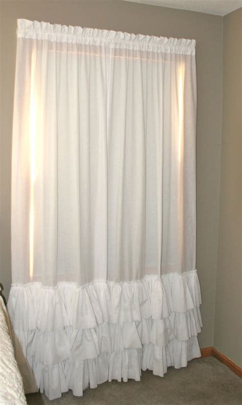 ruffle bedroom curtains white triple ruffled pair curtain panels heirloom shades
