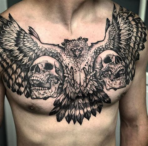 chest piece tattoo designs harpy eagle skulls mens chest best