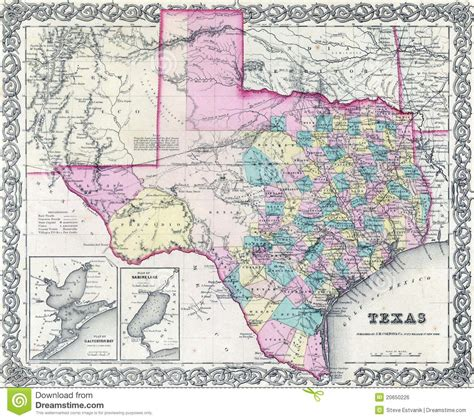 geographic id map texas 1855 antique map of texas royalty free stock image image 20650226