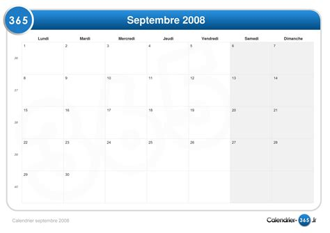 Calendrier Septembre 2008 Calendrier Septembre 2008