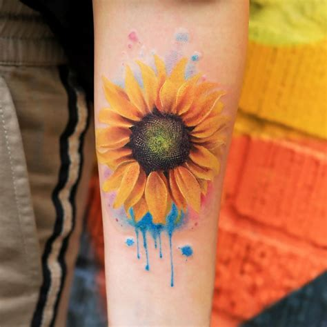 sunflower watercolor tattoo 105 sensational watercolor flower tattoos page 2 of 11