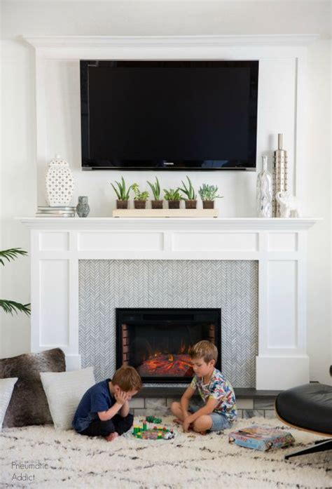 decorate  mantel   tv   ideas   house faux fireplace tv