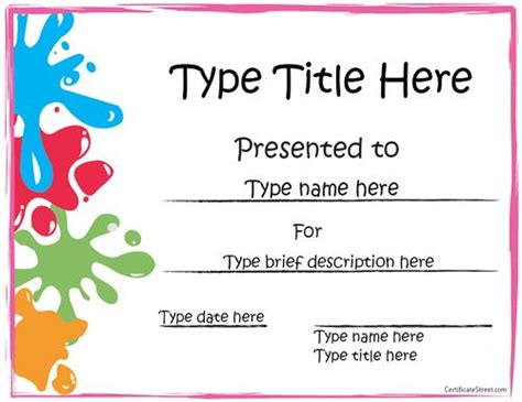 kid certificate templates free printable free printable award certificate template your
