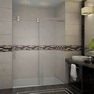 sliding frameless shower doors aston 60 inch x 75 inch frameless sliding shower door in