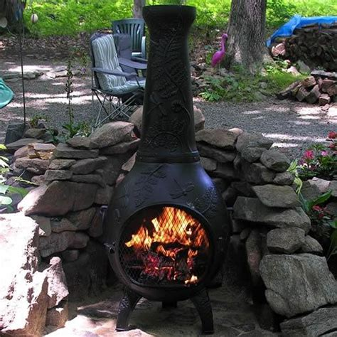 Black Friday Chiminea by The Blue Rooster Dragonfly Style Cast Aluminum Chiminea