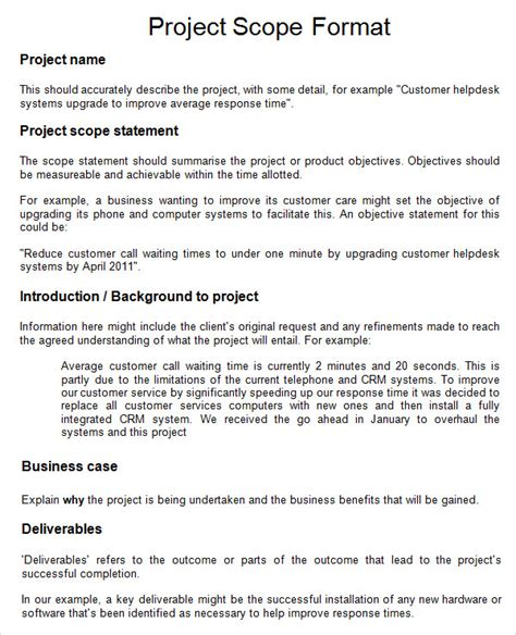 Business Scope Template project 7 free for word pdf