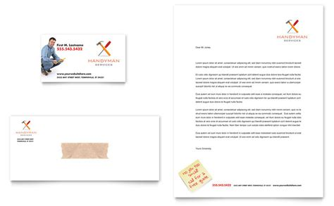 Handyman Services Business Card Letterhead Template Word Publisher