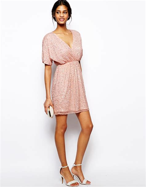 Dress Mini lyst asos sequin kimono mini dress in pink