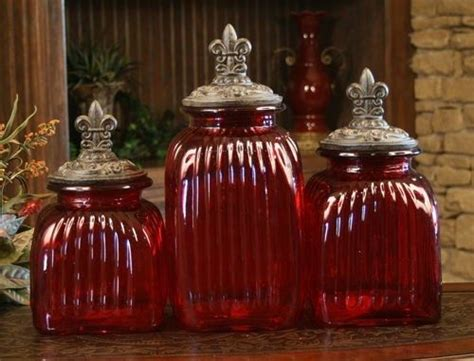 red glass kitchen canisters glass canisters canister sets and ruby red on pinterest